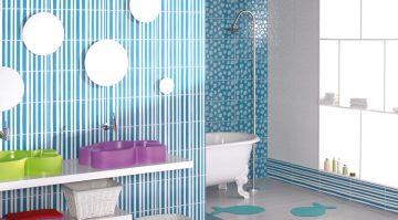 salle de bains de couleurs vives