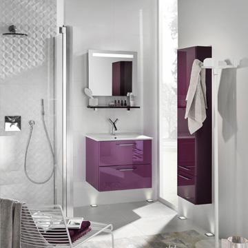 meuble de salle de bains de couleur unique glossy. Black Bedroom Furniture Sets. Home Design Ideas
