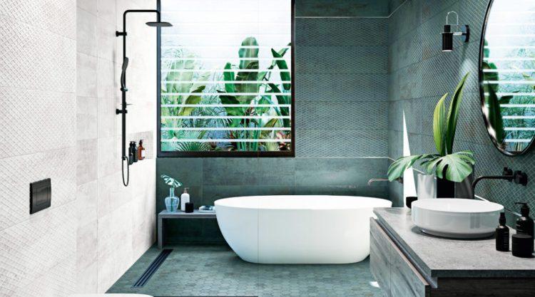 carrelage salle de bains metallic